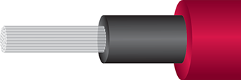 An illustrated cutaway view of the Wireworld Supernova 7 Toslink Optical cable showing the outer sheath, insulation, and many glass fiber strands.